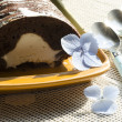 Stock Photo: Chocolate cake with mint and blueberries. horizontal format