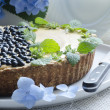 Stock Photo: Blueberry pie with mint and hydrangea