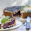 Stock Photo: Slice of blueberry pie with mint served with knife and spoon