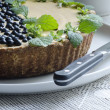 Stock Photo: Blueberry pie with mint served with knife