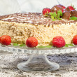 Stock Photo: Homemade nutty cake with strawberries