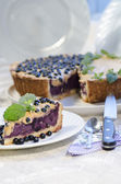 Slice of blueberry pie with mint served with knife and spoon — Stock Photo