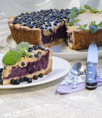 Blueberry pie with mint served with knife and spoon — Stock Photo