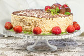 Homemade nutty cake with strawberries — Stock Photo