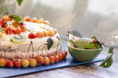 Bird-cherry flour cake with cherries, strawberries and kiwi — Stock Photo