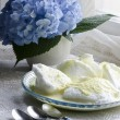 Stock Photo: Beaten egg whites with butter cream and hydrangea