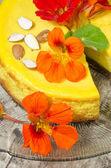 Pumpkin cheesecake on glass plate — Stock Photo