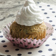 Pumpkin cupcake on table — Stock Photo