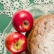 Applesauce raisin rum cake for christmas table. Macro, vertical image — Stock Photo