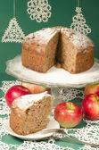 Applesauce raisin rum cake for christmas table — Stock Photo