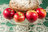 Applesauce raisin rum cake for christmas table. Macro, horizontal image — Stock Photo