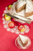 Applesauce raisin rum cake for christmas table, blurred background — Stock Photo