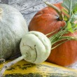 Fresh vegetables on old wooden table, macro — Stock Photo