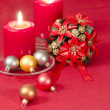 Christmas decoration with candles ribbons and cookies — Stock Photo #35653585