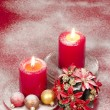 Christmas decoration with candles ribbons and cookies — Stock Photo #35654291