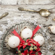 Christmas decoration with candles ribbons and cookies — Stock Photo #35655087