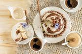 White chocolate cake with hazelnuts and cream — Stock Photo
