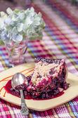 Slise of crumble pie with black currants — Stock Photo
