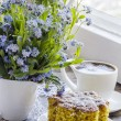 Polenta cake with cup of Coffee. — Foto Stock #45940531