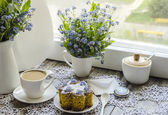 Polenta cake with cup of Coffee. — Stock Photo
