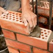 Working in progress. Bricks laying — Stock Photo #24961307
