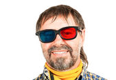 Happy 3d spectator — Stock Photo
