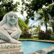 Statue of Hindu deity overlooks pool — Stock Photo #25860569