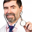 Happy middle-aged doctor with stethoscope — Foto de Stock