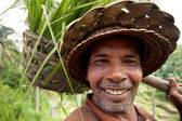 BALI- DECEMBER 29: Closeup portrait of balinese farmer on Dec, 2 — Stock Photo