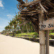 "Tropical beach in Bali, Indonesia. nameplate ""to surf"" — Stock Photo"