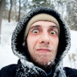 Beautiful frozen face of brave hiker. Russia, Pidan — Stock Photo