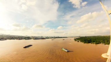 Time lapse footage of river traffic on Dong Nai River in Saigon (Ho Chi Minh City), Vietnam. Timelapse. Copyspace. — Stock Video