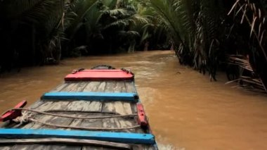 Boat on a canal in Mekong delta, Vietnam — Stock Video