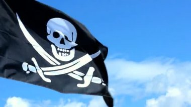 Jolly Roger pirate flag waving over a blue sky. — Stock Video
