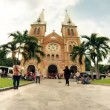 SAIGON - JULY 2013: Time lapse of Saigon Notre-Dame Basilica — Stock Video