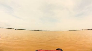 Crossing Mekong river on a Boat. Vietnam. Timelapse — Stock Video