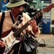 Blind street artist plays guitar — Stock Video