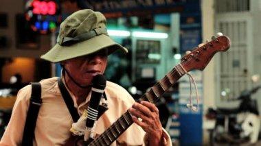 Blind street artist plays guitar — Stock Video #33834407