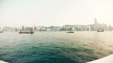 HONG KONG - JULY 12: Rotating view of Hong Kong Cityscape Victoria Harbour, timelapse — Stock Video