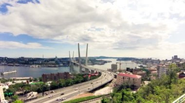 Vladivostok cityscape daylight view. — Stock Video