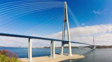 Cable-stayed bridge to Russian Island. Vladivostok. Russia. — Stock Video