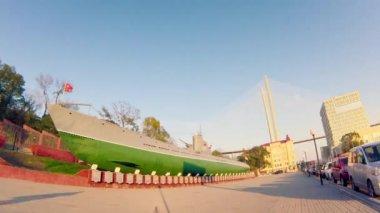 Timelapse. memorial of submarine S-56 — Stock Video