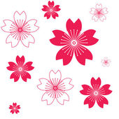 Red flowers on white. — Stock Vector