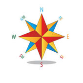 Veelkleurige ster kompas. — Stockvector