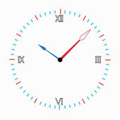 Three-color round clock. — Stock Vector