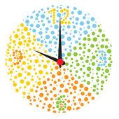 Childish multicolor clock. — Stock Vector