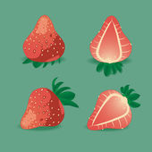 Juicy strawberry on green. — Stock Vector