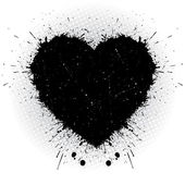 Black ink heart. — Stock Vector