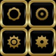 Black gold settings buttons. — Stock Vector