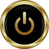 Black gold power button. — Stock Vector